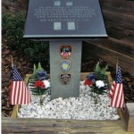 This is a memorial of Absolute Black granite dedicated to the firefighters, police offices and medical personnel in attendance on 9/11/2001.