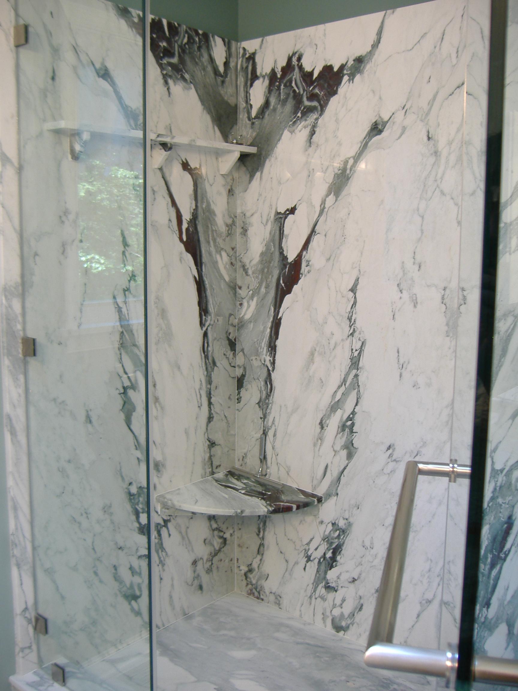 Great Brecchia Capraia Slab Shower