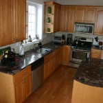 Red Marinace kitchen perimiter counters and island