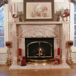 This is a Rosalia marble fireplace. The pilasters are individual pieces of marble laminated together