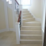 The stair treads and the risers are made from Jerusalem Bone limestone.